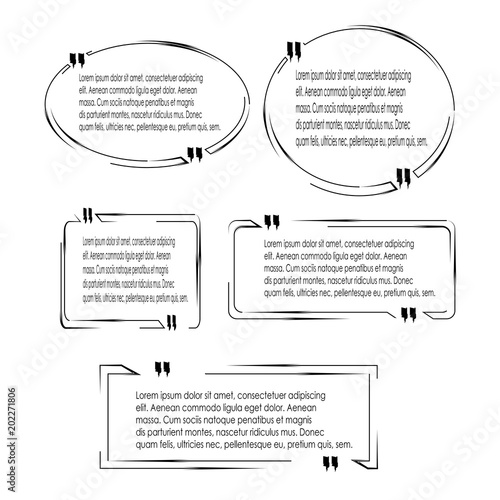 set of quote box bubble speech template with black outline style