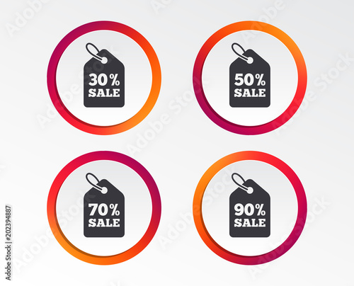 Sale price tag icons Discount special offer symbols 30, 50, 70