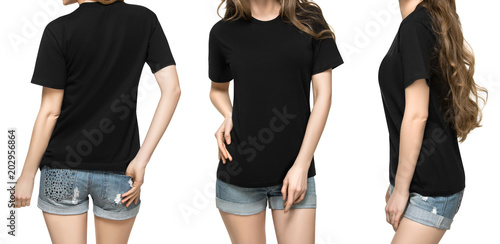 Set promo pose girl in blank black tshirt mockup design for print