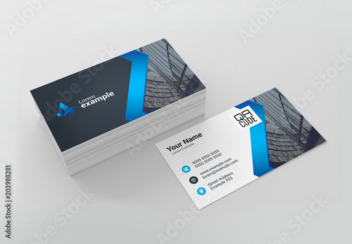 Blue Zig-Zag Business Card Layout Buy this stock template and