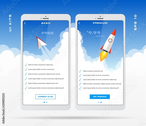 Mobile app design template for price list set, tariff plan, pricing - price list design template