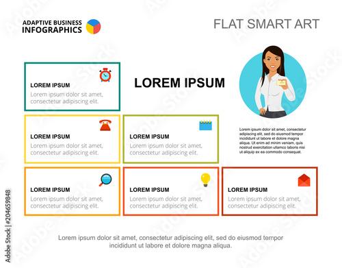 Presentation slide with company information blocks Editable