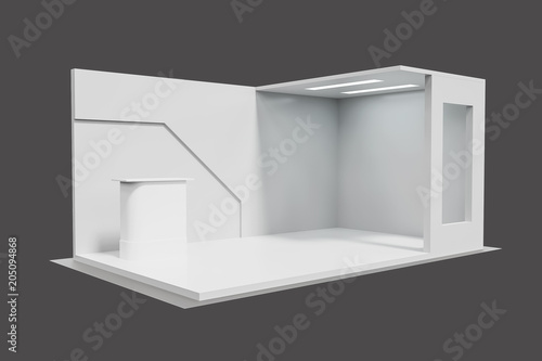 3d rendering Blank creative exhibition stand design,booth template