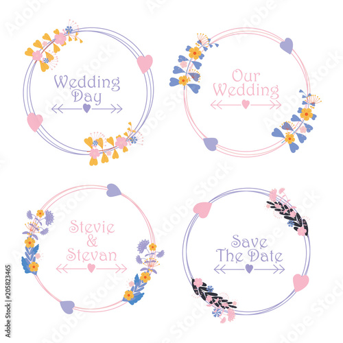 Floral wedding label set vector design template with pink and purple