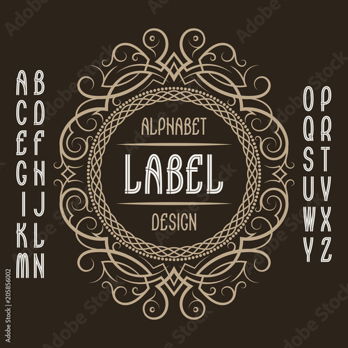 Vintage label template in patterned frame Isolated logo design