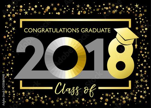 Class of 2018, congratulations graduating golden glitter card Class