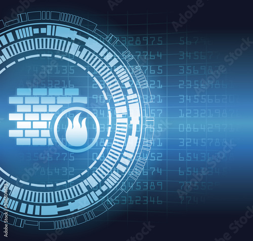 Firewall security system symbol blue digital concept vector