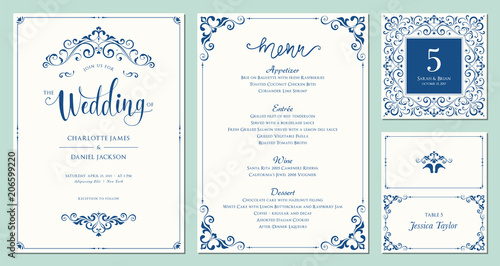 Ornate Wedding Invitation Table Number Menu And Place