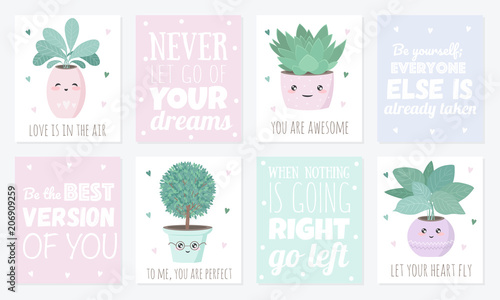 Vector set of cute postcards with house plants - Buy this stock