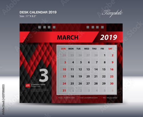 MARCH Desk Calendar 2019 Template, Week starts Sunday, Stationery