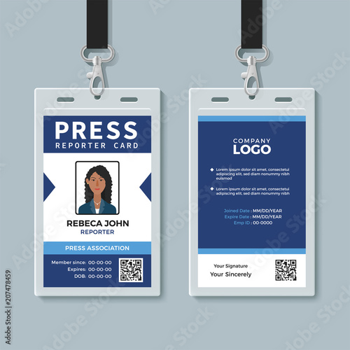 Press reporter ID card template - Buy this stock vector and explore