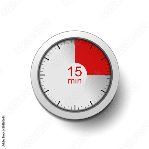 Time interval of 15 minutes, isolated on a white background, with