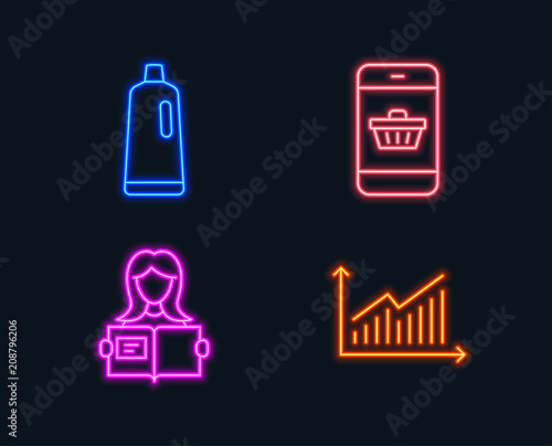 Neon lights Set of Shampoo, Smartphone buying and Woman read icons