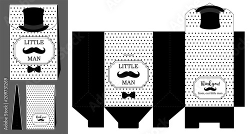 Black hat, mustache and bow tie Printable template for little man\u0027s