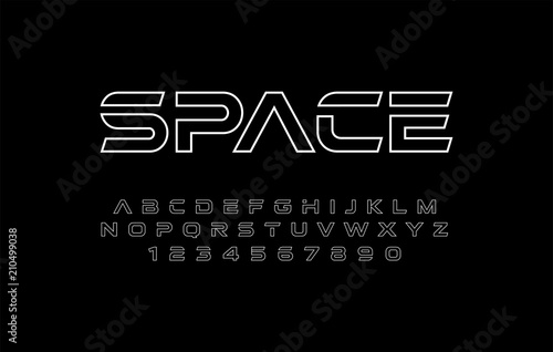 alphabet thin line modern fonts and numbers designs for logo