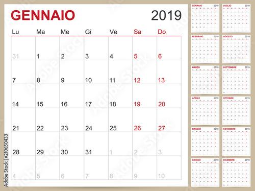 Italian Calendar 2019 / Italian planning calendar 2019, Italian