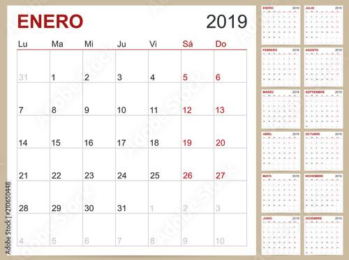 Spanish Calendar 2019 / Spanish planning calendar 2019, Spanish