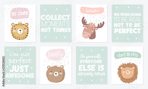 Vector set of cute postcards with funny animals and lettering - Buy