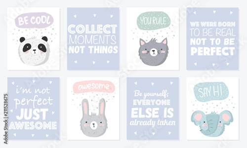 Vector set of cute postcards with funny animals, and lettering - Buy