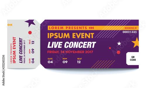 Music, Dance, Live Concert entrance vector tickets templates Ticket