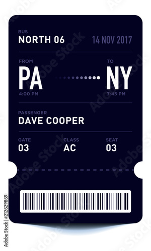 E-Ticket or Boarding Pass Card Template with Bar Code Bus Ticket