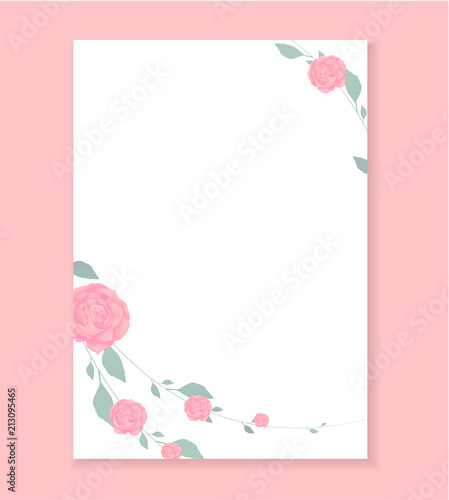 Love letter, Blank template with Rose flower pattern background