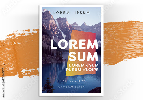 Event Flyer Layout with Mountain Scenery Buy this stock template