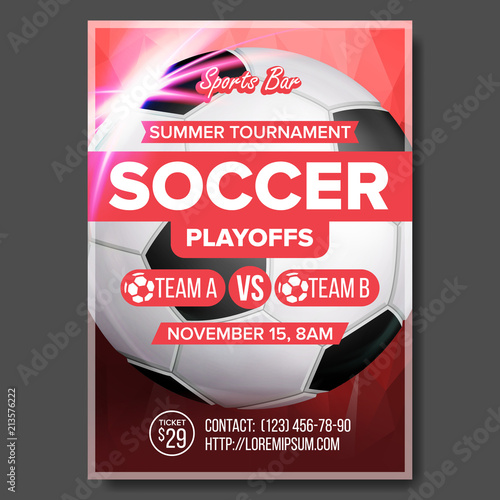 Soccer Game Poster Vector Modern Tournament Design For Sport Bar