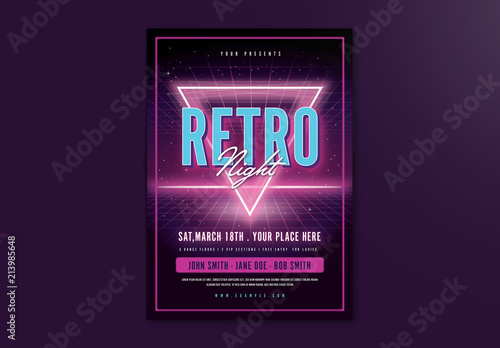 Purple Neon Retro Event Flyer Layout Buy this stock template and