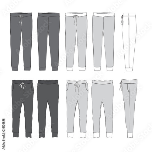 Vector Jogger Pants template - Buy this stock vector and explore