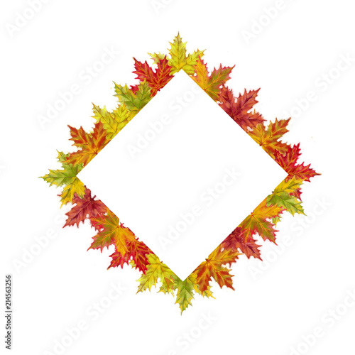 Fall Maple Leaves Diamond Template Isolated on White Background