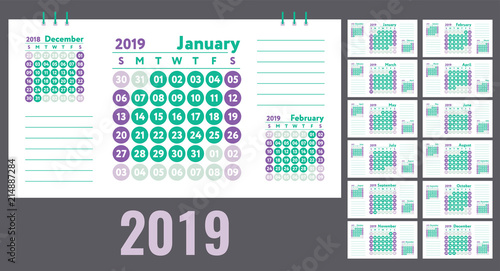 Calendar 2019 Vector English quarterly calender January, February