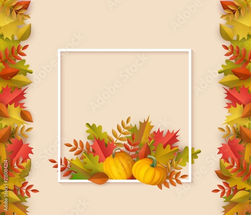 Autumn leaves with pumpkins square border frame background with
