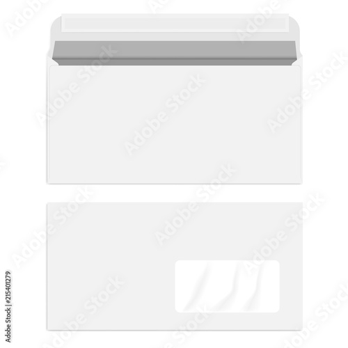 White right hand window envelope with self adhesive seal, template