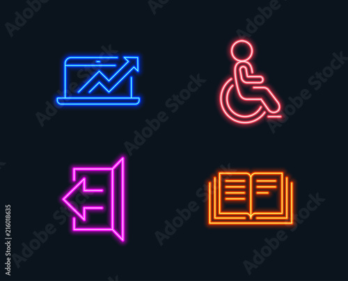 Neon lights Set of Sales diagram, Sign out and Disabled icons