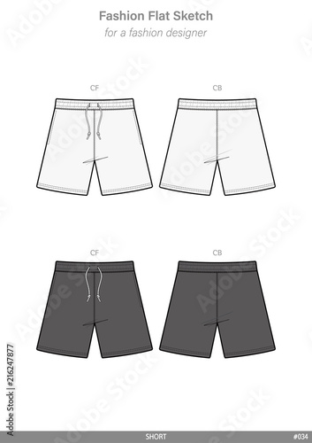 PANTS SHORT Fashion flat technical drawing vector template - Buy