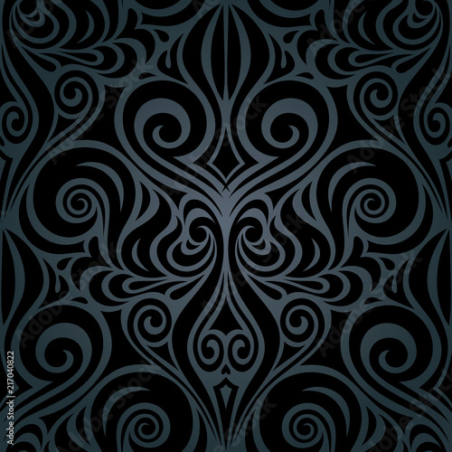 Black Floral decorative vintage damask Background trendy fashion