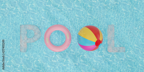 Inflatable ring and pool word on blue water 3D illustration - Buy