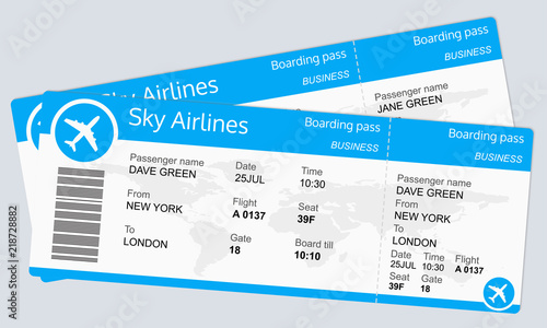Plane ticket template Airplane flight ticket blank Boarding pass