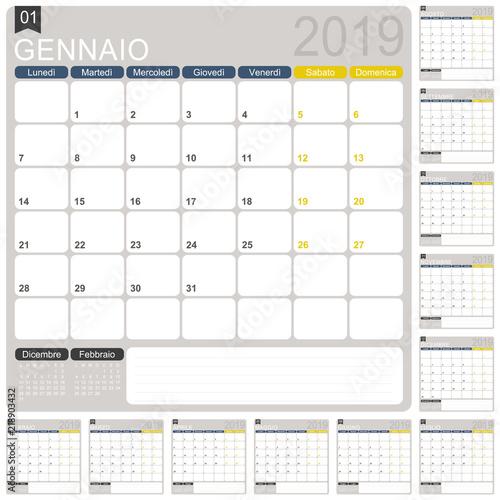 Italian calendar 2019 / Italian calendar template for year 2019, set