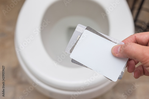 Holding cluster of blank cards (credit card, business card