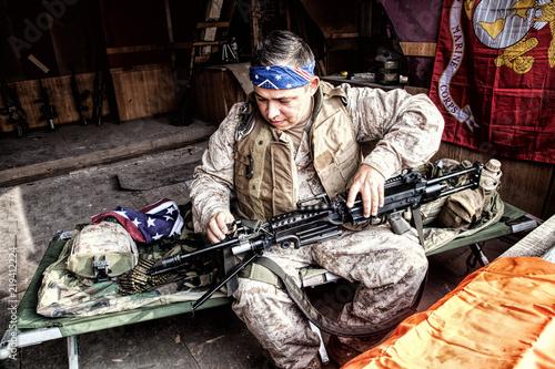 Marine Corps machine gunner with confederate flag bandana on head