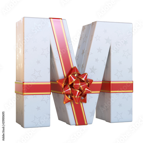 Gift box with red ribbon bow 3d font, present alphabet 3d renderinf
