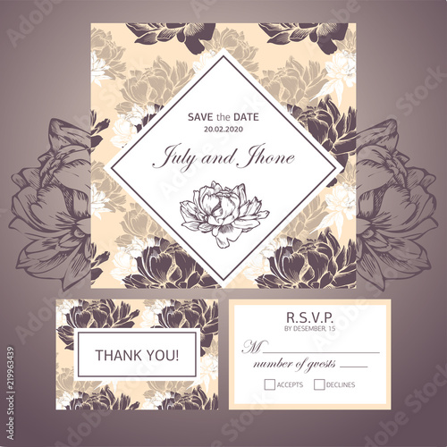 Vector invitation card, wedding welcome card - Buy this stock