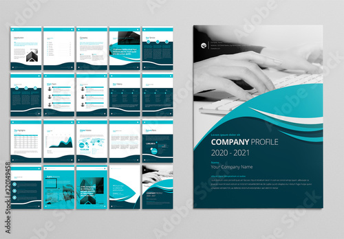 Company Profile Layout with Teal and Blue Accents Buy this stock