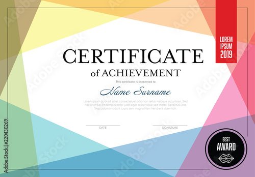 Certificate Layout with Overlapping Colors Buy this stock template