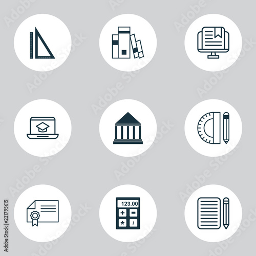 Education icons set with rulers, calculator, essay writing and other