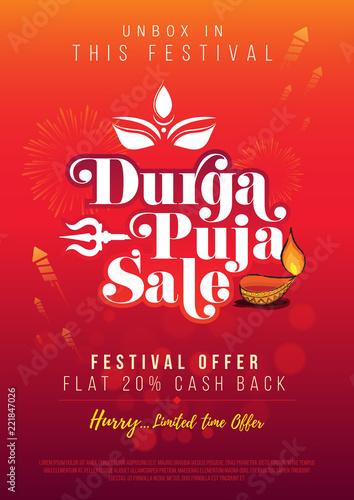 Durga Puja Festival Big Sale Poster Design Background Template A4