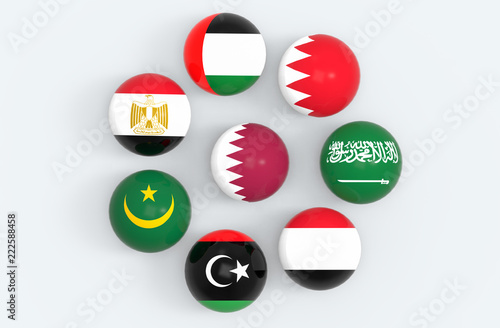3d rendering Qatar country flag surround by some middle east
