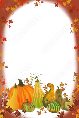 Thanksgiving, hand drawn illustration, harvest tabletop, gourds